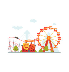 Amusement park house of crooked mirrors roller vector