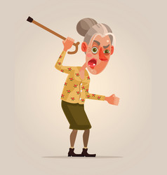 Angry old woman character vector