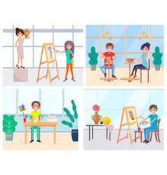 Artists classes painting and pottery origami vector
