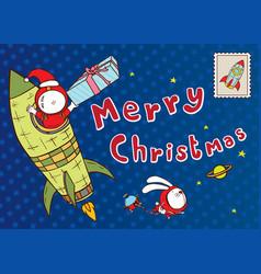 astronaut santa claus card vector image