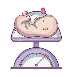 Baby weight machine and medical process vector