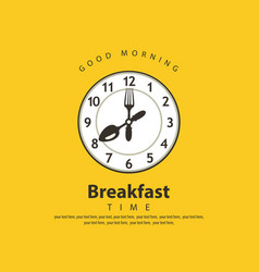 banner for breakfast with clock fork and spoon vector image
