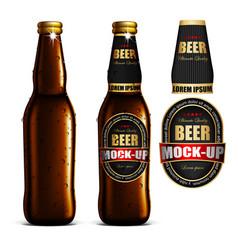 Beer-mock-up-set brown bottle without a label vector