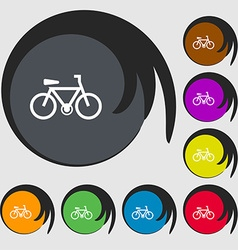 Bicycle icon sign Symbols on eight colored buttons vector