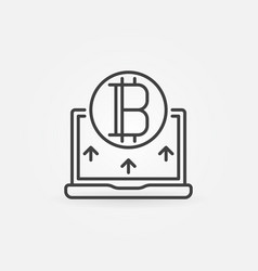 bitcoin with laptop line icon - vector image