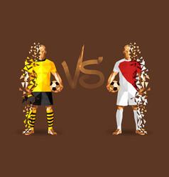 Borussia vs monaco soccer players holding vintage vector