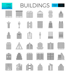 building in the city icons vector image