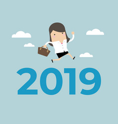 businesswoman jump over number 2019 vector image