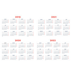 calendar for 2019-2022 years vector image