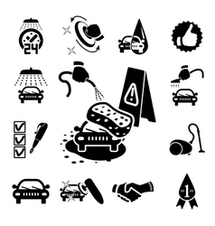 Car wash icons set vector image