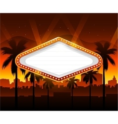 Casino banner with vegas city in background vector
