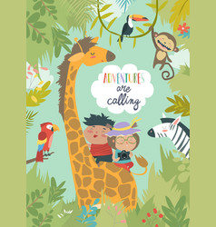 children riding giraffe vector image