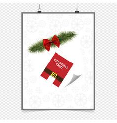 christmas card with red ribbon and pattern vector image