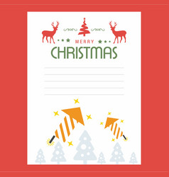 christmas greetings card design with red vector image