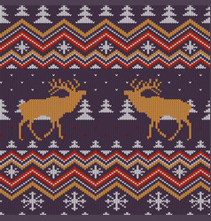 christmas winter knitted woolen seamless pattern vector image