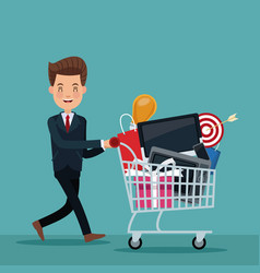 Color background of executive man with shopping vector