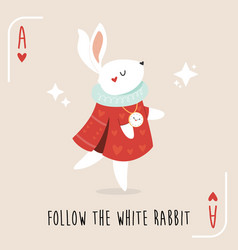 Colorful composition with white rabbit from alice vector
