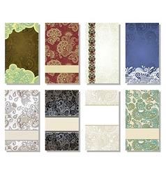 Colorful floral ornamental business card elemen vector