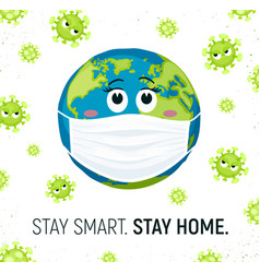 Coronavirus and earth in mask vector