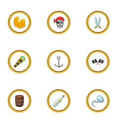 Corsair adventure icons set cartoon style vector