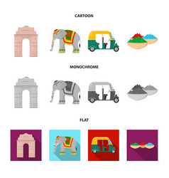 Country india cartoonflatmonochrome icons in set vector