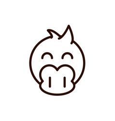 Cute face duck animal cartoon icon thick line vector