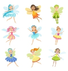 Cute Fairies In Pretty Dresses Girly Cartoon vector