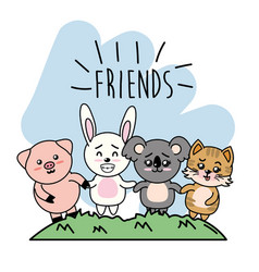 Cute friends animal with hands together walking vector