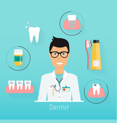 dentist with dental care symbols teeth dental vector image
