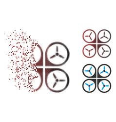 Dispersed pixel halftone quadrotor icon vector