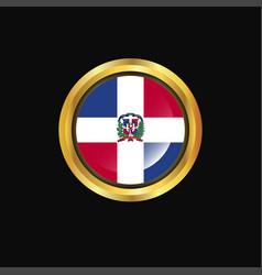 Dominican republic flag golden button vector
