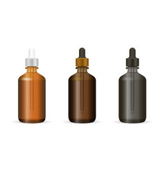dropper bottles set for cosmetics or medicine need vector image