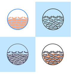 Dry skin icon set in flat and line style vector
