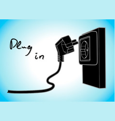 electricity plug and socket simple draw vector image