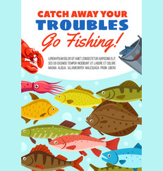 Fishing catch poster with seafood and fish vector