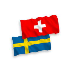 Flags sweden and switzerland on a white vector