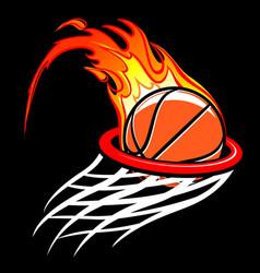 flaming basketball through hoop logo vector image