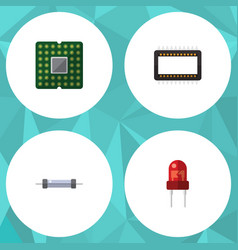 Flat icon technology set of resistor unit vector