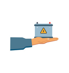 Flat man hand holding car battery icon vector