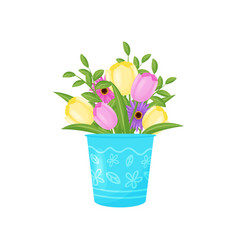flowers bouquet in blue vase on white background vector image