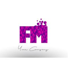 fm f m dots letter logo with purple bubbles vector image