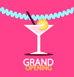 grand opening banner with martini drink vector image