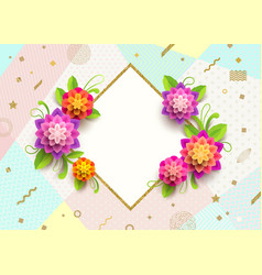 Greeting card with glitter gold frame and flowers vector