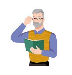 Guy grinning book adult bearded man in glasses vector