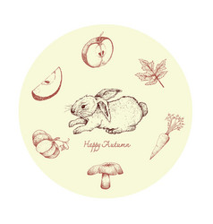 Hand drawn bunny rabbit with autumn plants and vector