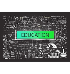Hand drawn education on chalkboard vector