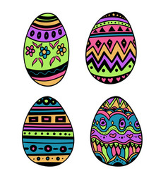 happy easterset of ornamental eggs with different vector image