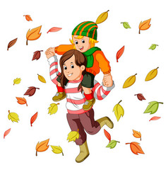 Happy family together on autumn playing with leave vector