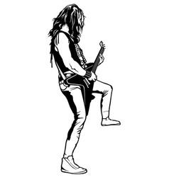 hard rock guitarist plays solo vector image