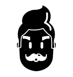 hipster man face icon simple style vector image